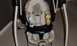 bought from sears for $179.00 2 yrs ago. graco 6 speed swing. plays music. bouncy chair comes off and vibrates. 2 toys on tray that come off. plush animals on top with mirror. come off. swing clapses down for easy storage.5 point harness system. perfect