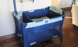 Graco Pack and Play with Bassinet & Change Table Used, but in very good condition.  Comes from a smoke free/pet free home.  Also includes storage bag, and teddy bear mobile.  Easy to set up and take down!