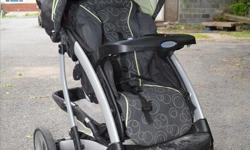 "In good condition with many years of use left on the stroller. Features: - 4-position flat reclining seat - One-hand fold - Parent tray with compartment and 2 cupholders - Child's tray with cupholder - Child Canopy - Storage basket - Wheels: 8.5"" (21.6"