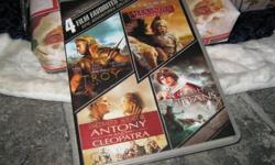 4 Movie pack never opened Troy,Brad Pitt-Antony and Cleopatra - Charlton Heston, Clash Titans,Alexander, directors cut.Epics Adventure Collection. 10.00 Thats 2.50 a movie great deal for Christmas present for movie buffs.