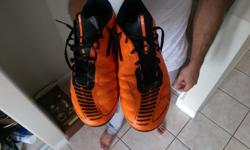 black and orange adidas soccer cleats F50. Great condition only reason for selling is because they are too small for me. Let me know if you wish to see. $20 dollars is an amazing price for these great cleats!!!