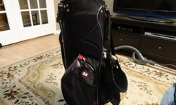 Used once. Plastic still on legs. This bag has 6 really nice pockets and 6 compartments for your clubs. The compartments have 3 full length dividers which separates the compartments into 4 sections so your clubs don't bunch.A very nice unit. $40 dollars