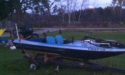 I have a a fishing boat equip with 65 lbs thrust trolling motor 33 hp johns gas motor all batteries trailer 12 ft fiberglass checkmate boat please call sean for more info 705 344 4531 my family needs a second vehicle so I would rather trade for vehicle in