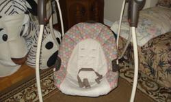 I am selling GRECO swing for 15 $. Is in good condition. For infants from 5 1/2 to 30 lb. *1-hand, 4-position recline *6 speeds *3-setting, 30-minute timer plays 10 melodies and 5 nature sounds *machine-washable polyester seat pad *3 'D' batteries