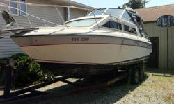 Interesting trades considered. going in storage end of september, 24'5 GREW 1988 260 hp merc in/outboard with only 800+ hours. Comes with everything, full dinnette kitchen turns into very spacious bedroom with additional bed beneath the gally inc,