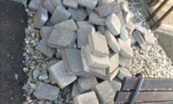 "Approx 300+ Grey Paver Stones for sale!!! Stones are 6"" x 7"", 6"" x 6"", 5.5"" x 6.5"" Build a garden border, make a patio or walkway, be creative!!!! Included is 2 recycle bins with odd shaped pavers. All ready to go, no deliveries"