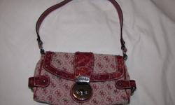 Authentic GUESS ladies handbag / purse, excellent condition, beautiful red canvas with satin lining.