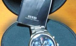 GUESS STEEL SERIES WATCH   2,6,10 THREE-EYE CHRONOGRAPH WITH ALARM   FOUR FUNCTION WITH TIME, CALANDAR, STOPWATCH AND ALARM     INCLUDES CASE AND INSTRUCTION MANUEL    NEW BATTERY
