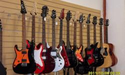 Come check out our awesome selection of gently used acoustic and electric guitars.  We have many names such as Ibanez, Barracuda, Epiphone, Striker, Schecter, and Squier.  We also have a 12-string Takamine acoustic in beautiful shape at a steal of a