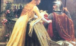 Painting on wooden frame of Gwynevere pinning a ribbon on a knight's arm. In excellent condition