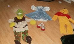 Small, warm Winnie The Pooh Med, Shrek...strap on mask needs refastened Med, size 6-8 Dorothy with size 1 red shoes Med/lg Very warm solid Butterfly....age 7-10? Please call or text 613 888 1456. Nicole