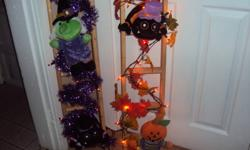 Beautiful light-up Halloween decorations. Sure to be a hot item for halloween! They can be custom made with whatever lights ( clear, orange or purple) and 2 of whatever stuffy you want ( spider, witch, pumpkin man or pumpkin. These are 3 ft we can also do