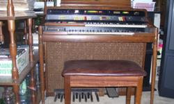 "Must sell! Hammond organ--43"" wide, 24"" deep , 39"" high--47"" with music holder up. Good working condition Asking $45.00 or best offer! Please call 613-828-7398 if interested."