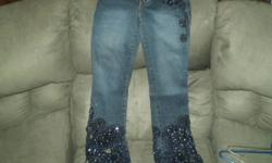 One of a kind designer jeans all done by hand, bought in Switzerland last winter for $250 Swiss Franks, so over $300 canadian. Reason for selling I gained weight, have never been worn. For more info. call 705-563-2227   Delivery to North Bay can be