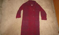 Hand Woven Wool Sweater Coats Brown one is Size Women's Extra Small with a hood and wooden buttons 23 inches from underarm to bottom hem Burgundy one is medium 32 inches from underarm to bottom hem $35 each