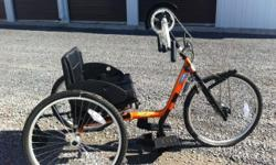 """Please contact for price. Only used a handful of times. -Sunkissed Orange -20"""" Seat width -24"""" Wheels -Adjustable fore/aft seat -Adjustable back height -Fold over back upholstery -Adjustable crank height -Chain tension idler -Adjustable height/angle"""