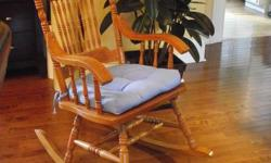 Hardwood Press Back Rocking Chair with Cushion $65.00 In excellent Condition   421-6400
