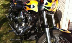 "Harley FXR $9100.00/Swap or Trade for classic truck 40's-60's ratrod or car.. FXR ;custom paint-old school denom pearl flame on jet black,Arlen Ness cafe fairing(convertible) ,New 4.5 gallon fuel tank,dash mount speedo,chopped rear fender,10""drag"