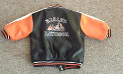18 month really cool Harley Davidson leather jacket Fits a little on the bigger side. Excellent shape, from a smoke free, pet free home. Orginal paid just over $100.00 Thanks