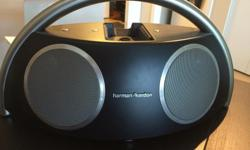 Top of the line Harmon Kardon Go + Play portable speakers, in practically new condition. Great addition to your patio for summer BBQs, or take with you to the beach or on your camping trip (can plug in to an outlet or use battery power). Connects to your
