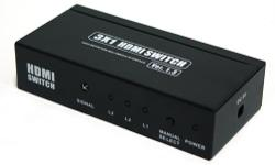This 3 x 1 HDMI switch routes high definition video with 3D pass-through (in multiple resolutions up to 1080p) plus digital audio from any one of the three sources to your TV or Projector. Three inputs accommodate the simultaneous connection of up to