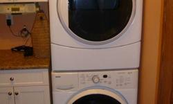 High Efficiency Washer and Dryer, includes stacking kit, manuals, hoses, internal sweater drying rack.  Has 9 hour delay start for loads, great with cold water wash, very efficient. Purchased for $1600 +tax in November 2007.  These appliances are