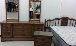 Dresser has two mirrors, Nightstand and Queen/King Headboard Does not include matress set Delivery possible for a small fee