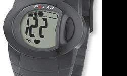 - Polar F2 Heart Rate Monitor - One button operation with bold numbers, adjustable high/low target zone with visual and audible alarm. - Tracks heart rate and exercise time continuously - Enables you to check the average heart rate and total time after