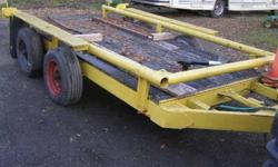 Heavy duty Construction trailer made to carry a skidsteer on it but can be used to carry a lot of things. Needs some work. asking $750.00 as it sits or will consider trade in or best reasonable offer.