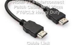 Heavy Duty HDMI V1.4 Interconnect Patch Cable 20cm FT4/CL2 This is heavy duty HDMI V1.4 cable specially designed for wiring project where couple of HDMI device close each other and need solid and neat interconnect wiring. -Supports Ethernet, 3D, and Audio
