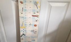 Kids sport Growth chart, painted on MDF structure durable and fun print $30. Also for sale kids chair $20. Buy both for $40.