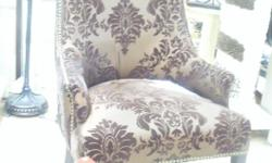 """HomeSense chair in cocoa brown damask with hammerhead detail accents. New and never used. Price tags attached. Asking 175.00 Landscape painting in guilt gold frame. 18"""" x 22"""" H Asking 80.00 Oil on canvas reproduction. Portrait of a young girl in heavy"""