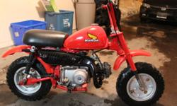 1979 Z50 Rebuilt motor and carb. New chain, sprockets, paint, tires, seat, rear fender, decals, etc.... Starts first kick, semi-automatic (no clutch) $1500.00
