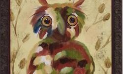 "OWL - Original acrylic on canvas, framed, 11"" x 14"" - $95 LATTE - Original acrylic on canvas, 8"" x 10"" - $25"