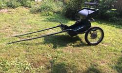 Ready to hitch your horse to. Used with Halflinger and Morgan horses. Excellent condition. Would be ideal for hackneys or ponies too. Shaft length - 67 inches Shaft width - 27 inches (inside measurement) at widest part, 21 inches at front. Wheel diameter