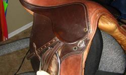 "Black half chaps w/ velcro size medium $25 Dark blue show jacket in great condition woman's size 10 $50 17"" Cavalier saddle medium tree $275 OBO SOLD"