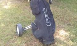 Bag, cart and clubs $40...first one here takes them all. Home today for viewing. Cart is almost new condition, very durable, bag is good and clubs are old school... See all my ads...moving must sell