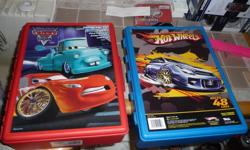 2 race car cases.  Excellent condition - my son didn't ever use the Cars one.  $15 for both.  $9 CARS; $8 Hot Wheels