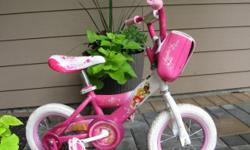 "12"" girl's beginner bike, sturdy, adjustable. Purchased new. $60.00"
