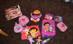 Our kids just got a bunch of new stuff for Christmas now it's time to get rid of the old! Up for sale is a HUGE collection of Dora the Explorer stuff.  Our little girl was big into Dora but has sadly outgrown her.  If your have someone you know who likes