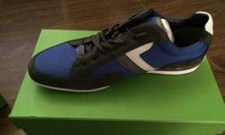 Brand name, brand new! Designer shoes, Hugo Boss. Never work great for Father's Day gift. Rich cobalt blue, charcoal and white colours. Size 13