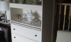 Hutch display 77 inch high by 32 inch wide by 15 inch deep. 4 drawers, 2 glass door, 1 hidden shelf