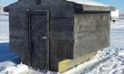 Insulated ice fishing shack Complete with wood stove & Fold down table & Fileting board on outside! Its comfy and cozy all in one Ready to catch fish $500 OBO Can be seen at Mainprize park Call or text 306-861-9040!