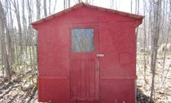 Ice Fishing Shack for sale. 8 feet by 16 feet. The ice shack is insulated. Stove piping for wood stove to be installed. Plastic ski guides. Steel roof, no leaks. Don't use ice shack anymore. Asking $525.00. Call (705) 542-8632.