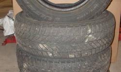 Set of 4 tires for sale.  Goodyear Ultra grip ice.  215 65 16.   Used for 1 season.   Call or email.  705-333-5365.