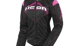 Icon Contra Women's Jacket (Large) but fit's small Retail Value: $225.00 A heavyweight among summer riding jackets, the Icon Contra Women's Jacket was created specifically to fit the female form and give lady riders a lightweight jacket that delivers all