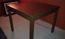 Ikea BJURSTA contemporary dining table. Easilly converts from a square 4 person dining table to a 6+ person table. Integrated leaves make conversion a cinch. Retails for $227 after tax. As the table is near new 8/10 condition asking 100$ Reason for