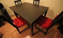 This is a great dining set. Table can seat 6 or 8 extendable with the chairs. Condition: Table has a few slight scuff marks other than that it is in a great condition. chairs: tighten chair joints needed (for some) pick up only