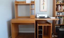 """Computer desk/workstation and rolling computer components cabinet. Light wood grain colour. Desk top where printer rests (right side) hinged to allow for fold down to make unit smaller. Desk only - 62""""l x 29.5""""w x 31""""h. Full height of desk and top shelf"""