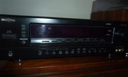 Hi, this is a nice looking, great sounding, Insignia NS-R5101 5.1 Channel Audio Video Amp/Tuner. It weighs over 22 pounds, and puts out 100 watts of power per channel, with a total of 500 watts. It has 3 HDMI ports, 1 Optical port, 2 Coaxial digital in
